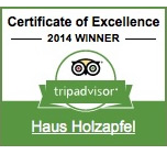 Tripadvisor - Certificate of Excellence - 2014 Winner